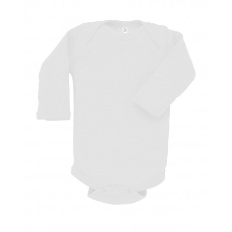 4411 Rabbit Skins 4411 Infant Long-Sleeve Baby Rib Bodysuit WHITE