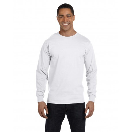 5186 Hanes 5186 Adult 6.1 oz. Long-Sleeve Beefy-T WHITE