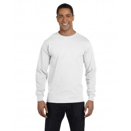 5286 Hanes 5286 Men's 5.2 oz. ComfortSoft Cotton Long-Sleeve T-Shirt WHITE