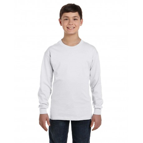 5546 Hanes 5546 Youth 6.1 oz. Tagless Long-Sleeve T-Shirt WHITE