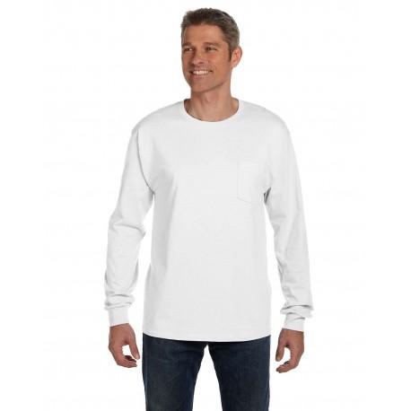 5596 Hanes 5596 Men's 6.1 oz. Tagless Long-Sleeve Pocket T-Shirt WHITE