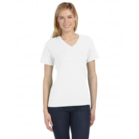 6405 Bella + Canvas 6405 Ladies' Relaxed Jersey Short-Sleeve V-Neck T-Shirt WHITE