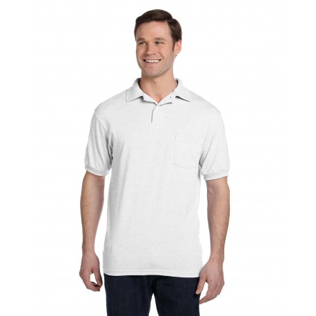 054P Hanes 054P Adult 5.2 oz., 50/50 EcoSmart Jersey Pocket Polo WHITE