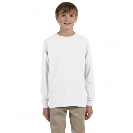 29BL Jerzees 29BL Youth 5.6 oz. DRI-POWER ACTIVE Long-Sleeve T-Shirt WHITE