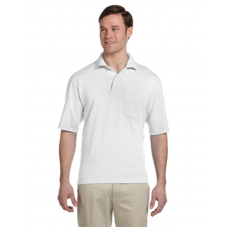 436P Jerzees 436P Adult 5.6 oz. SpotShield Pocket Jersey Polo WHITE