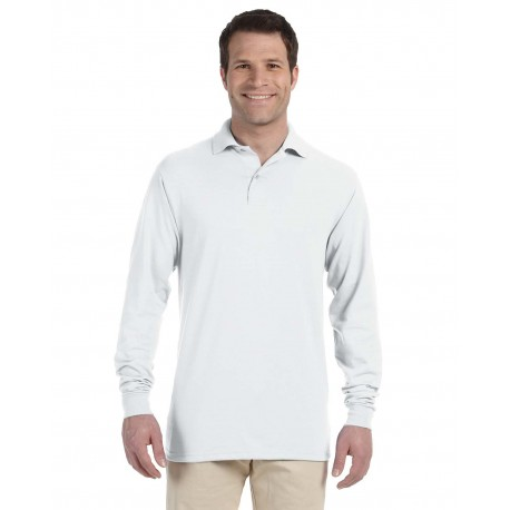 437ML Jerzees 437ML Adult 5.6 oz. SpotShield Long-Sleeve Jersey Polo WHITE