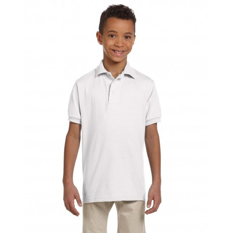 437Y Jerzees 437Y Youth 5.6 oz. SpotShield Jersey Polo WHITE