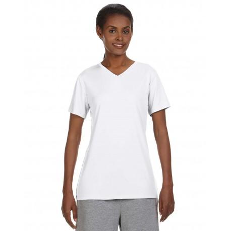 483V Hanes 483V Ladies' Cool DRI with FreshIQ V-Neck Performance T-Shirt WHITE
