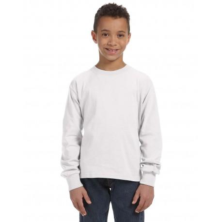 4930B Fruit of the Loom 4930B Youth 5 oz. HD Cotton Long-Sleeve T-Shirt WHITE