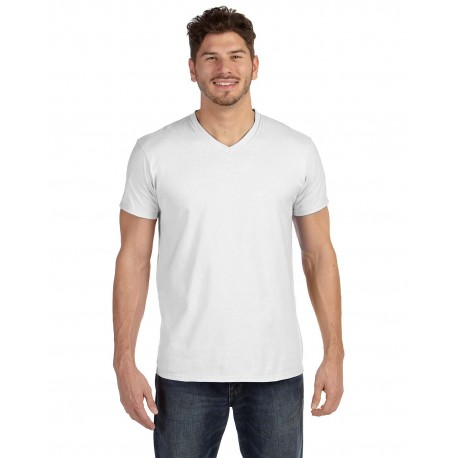 498V Hanes 498V Adult 4.5 oz., 100% Ringspun Cotton nano-T V-Neck T-Shirt WHITE