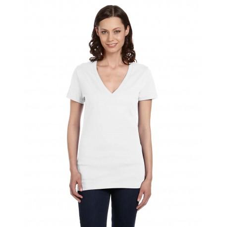 B6035 Bella + Canvas B6035 Ladies' Jersey Short-Sleeve Deep V-Neck T-Shirt WHITE