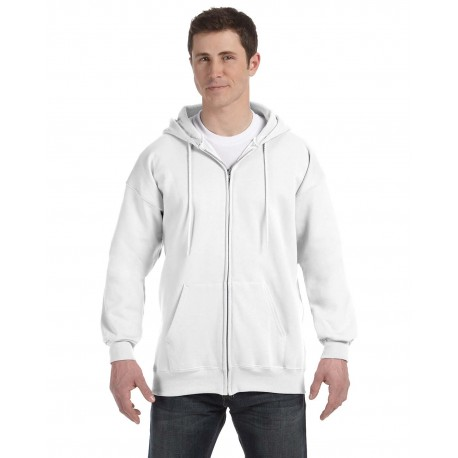 F280 Hanes F280 Adult 9.7 oz. Ultimate Cotton 90/10 Full-Zip Hood WHITE
