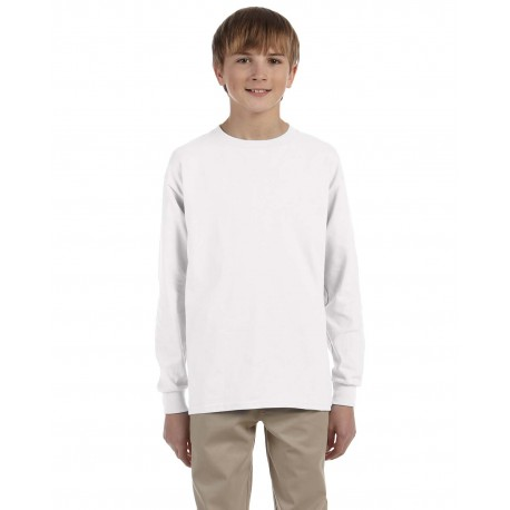 G240B Gildan G240B Youth Ultra Cotton 6 oz. Long-Sleeve T-Shirt WHITE