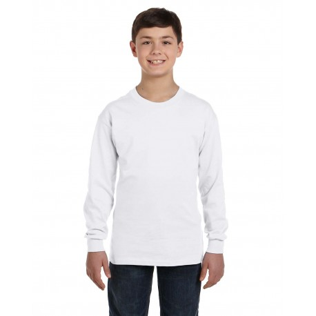 G540B Gildan G540B Youth 5.3 oz. Long-Sleeve T-Shirt WHITE