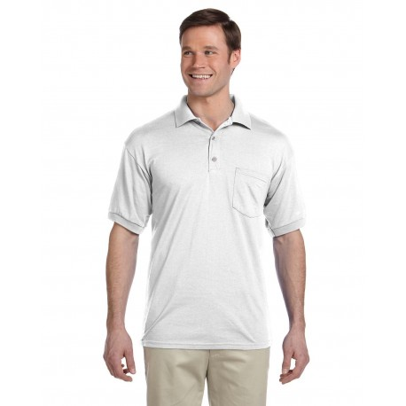 G890 Gildan G890 Adult 6 oz., 50/50 Jersey Polo with Pocket WHITE