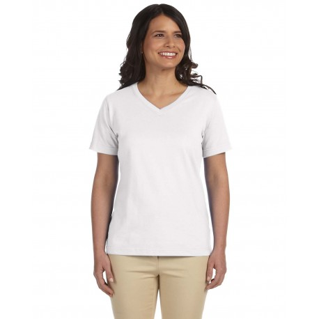 L-3587 LAT L-3587 Ladies' V-Neck Premium Jersey T-Shirt WHITE