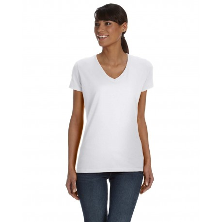 L39VR Fruit of the Loom L39VR Ladies' 5 oz. HD Cotton V-Neck T-Shirt WHITE
