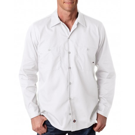 LL535 Dickies LL535 Men's 4.25 oz. Industrial Long-Sleeve Work Shirt WHITE