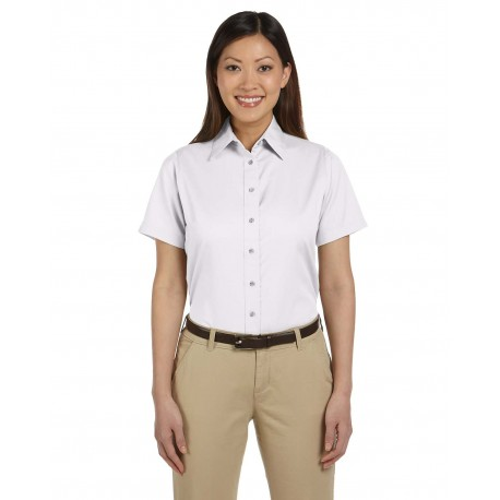 M500SW Harriton M500SW Ladies' Easy Blend Short-Sleeve Twill Shirt with Stain-Release WHITE