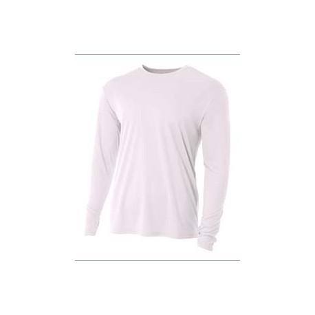 NB3165 A4 NB3165 Youth Long Sleeve Cooling Performance Crew Shirt WHITE