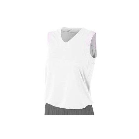 NW2340 A4 NW2340 Ladies' Moisture Management V Neck Muscle Shirt WHITE