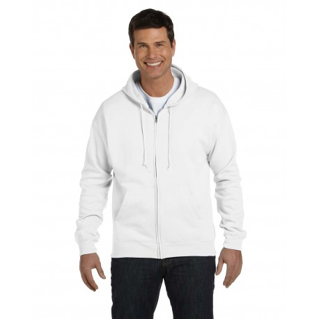 P180 Hanes P180 Adult 7.8 oz. EcoSmart 50/50 Full-Zip Hood WHITE