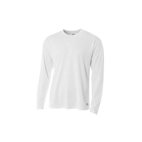 N3253 A4 N3253 Men's Long Sleeve Crew Birds Eye Mesh T-Shirt WHITE