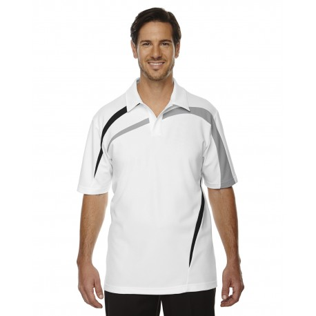 88645 North End 88645 Men's Impact Performance Polyester Pique Colorblock Polo WHITE 701