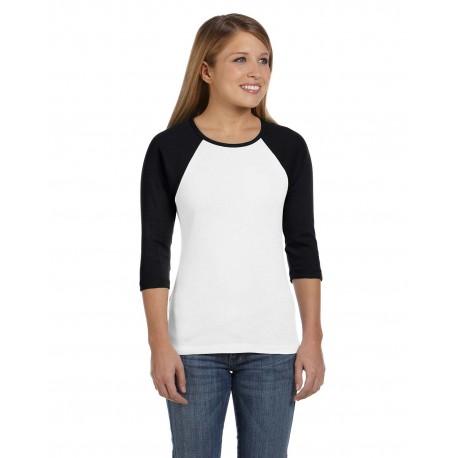 B2000 Bella + Canvas B2000 Ladies' Baby Rib 3/4-Sleeve Contrast Raglan T-Shirt WHITE/BLACK