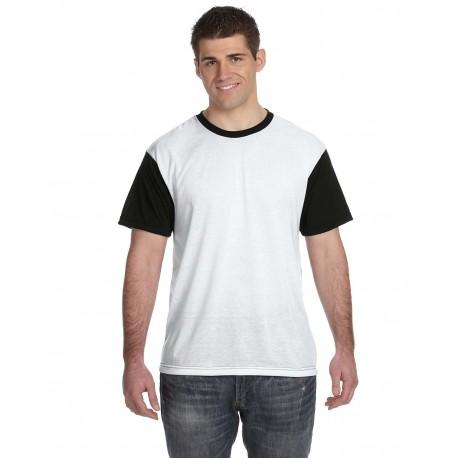 S1902 Sublivie S1902 Men's Blackout Sublimation Polyester T-Shirt WHITE/BLACK