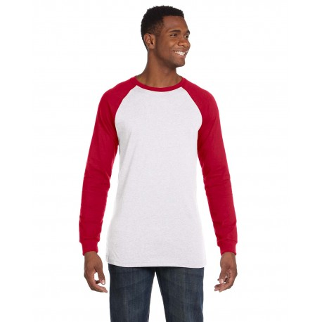 3000C Bella + Canvas 3000C Men's Jersey Long-Sleeve Baseball T-Shirt WHITE/CANVAS RD