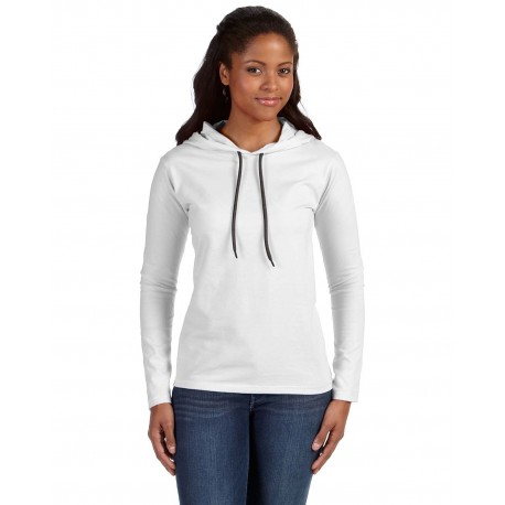 887L Anvil 887L Ladies' Lightweight Long-Sleeve Hooded T-Shirt WHITE/DARK GREY