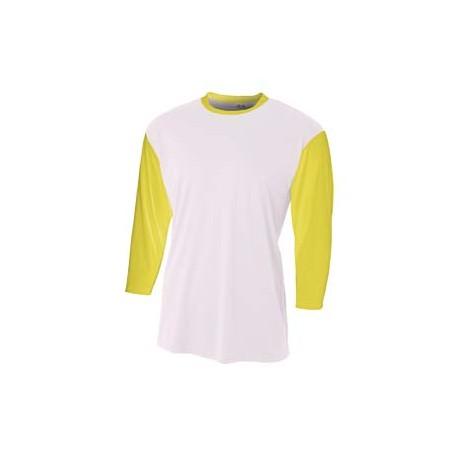 N3294 A4 N3294 Men's 3/4 Sleeve Utility Shirt WHITE/GOLD