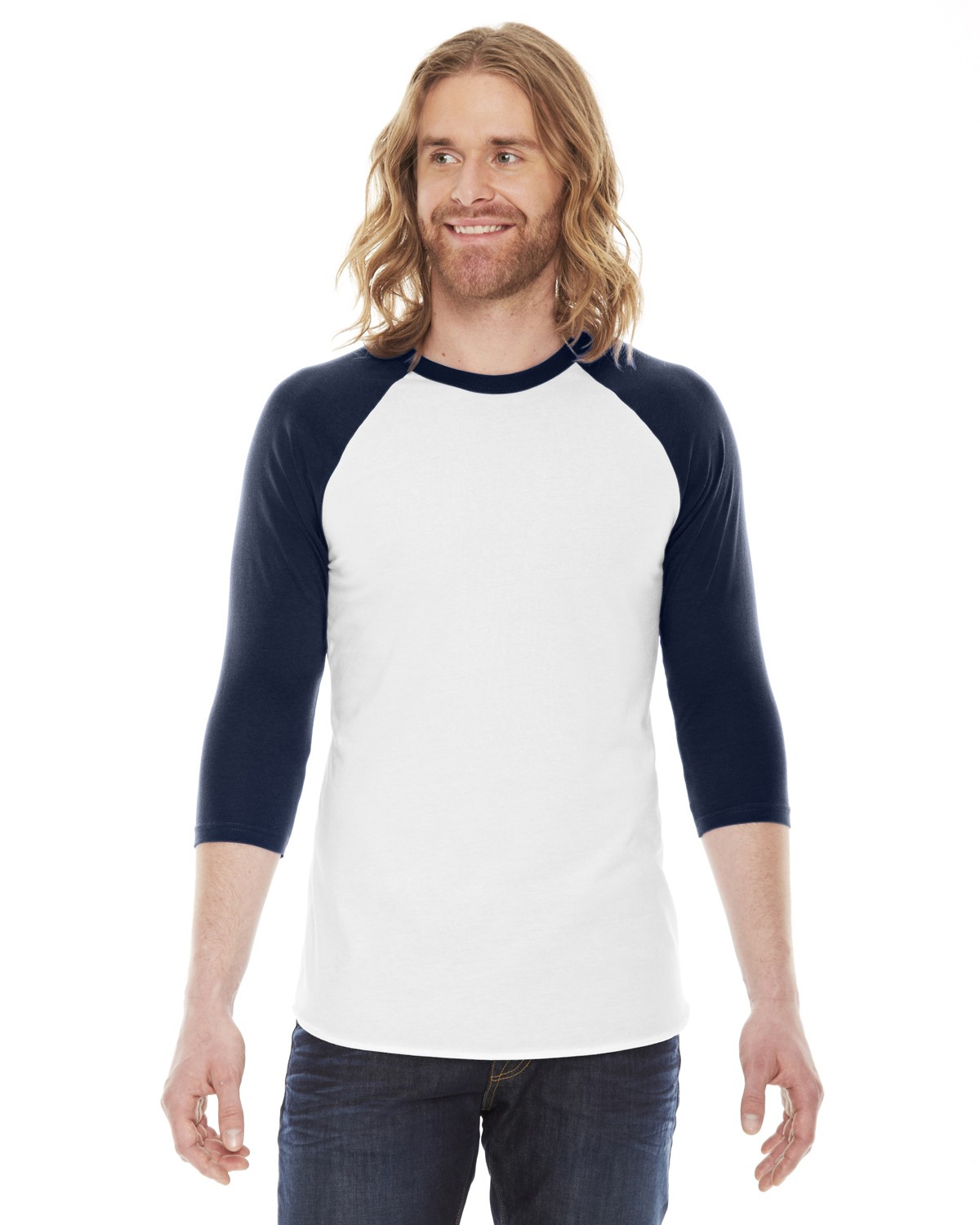 BB453 American Apparel WHITE/NAVY