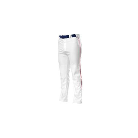 N6162 A4 N6162 Pro Style Open Bottom Baggy Cut Baseball Pants WHITE/SCARLET