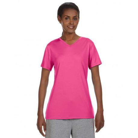 483V Hanes 483V Ladies' Cool DRI with FreshIQ V-Neck Performance T-Shirt WOW PINK