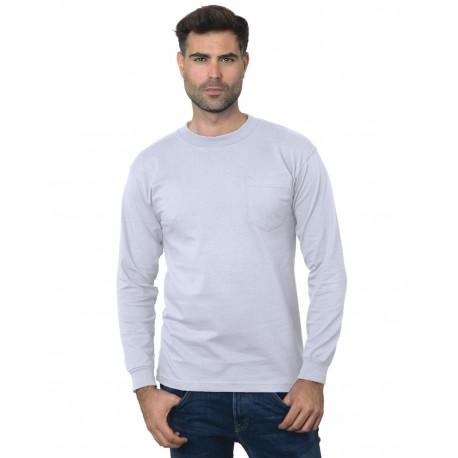 71a8664e225 Bayside BA3055 Unisex Union-Made Long-Sleeve Pocket Crew T-Shirt