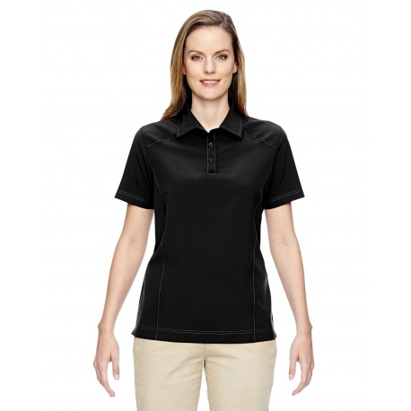 75120 North End 75120 Ladies' Excursion Crosscheck Woven Polo BLACK 703