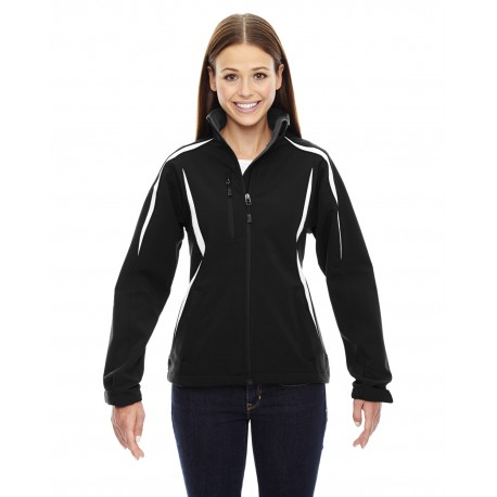 78650 North End 78650 Ladies' Enzo Colorblocked Three-Layer Fleece Bonded Soft Shell Jacket BLACK 703