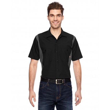 LS524 Dickies LS524 Men's 4.25 oz. Industrial Colorblock Shirt BLACK/CHARCOAL