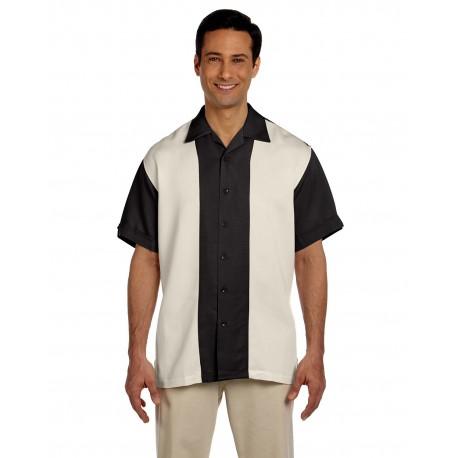 M575 Harriton M575 Men's Two-Tone Bahama Cord Camp Shirt BLACK/CREME