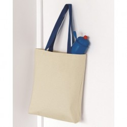 Q-Tees Q4400 11L Canvas Tote with Contrast-Color Handles