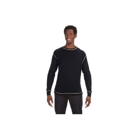 JA8238 J America JA8238 Men's Vintage Long-Sleeve Thermal T-Shirt BLACK/VINT WHT